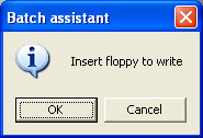 Insert floppy to write